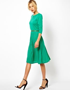 Midi Dress With Pleated Skirt
