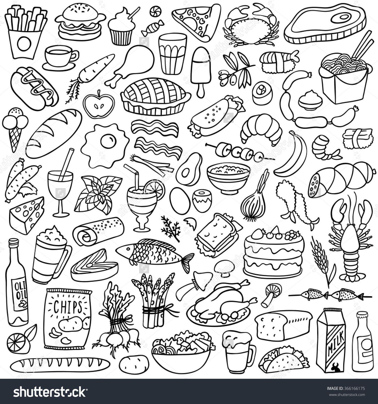 Food Doodles Set Travel Journal Pinterest Doodles Food
