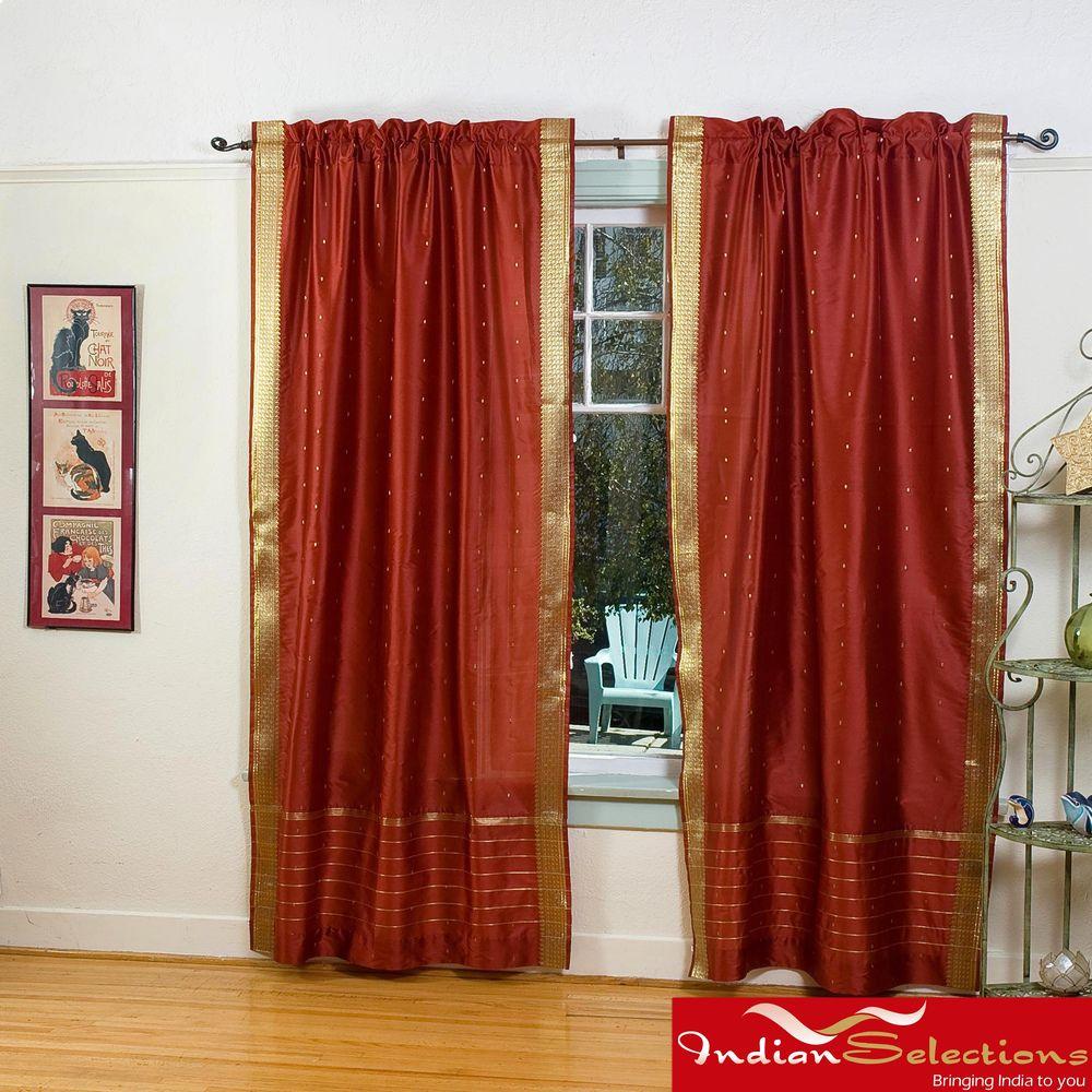Rust Sheer Sari 84 Inch Rod Pocket Curtain Panel Pair Handmade