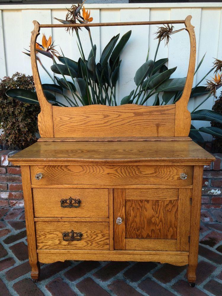 Antique Or Vintage Oak Washstand Dry Sink Dresser