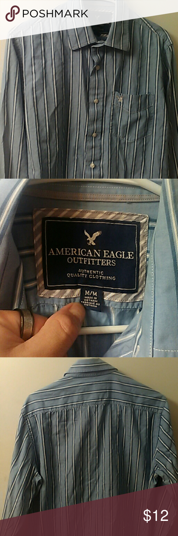 Mens American Eagle casual button down Color is light blue with dark blue and white stripes. Pocket on the front with a silver eagle logo. Condition is excellent excellent excellent. American Eagle Outfitters Shirts Casual Button Down Shirts