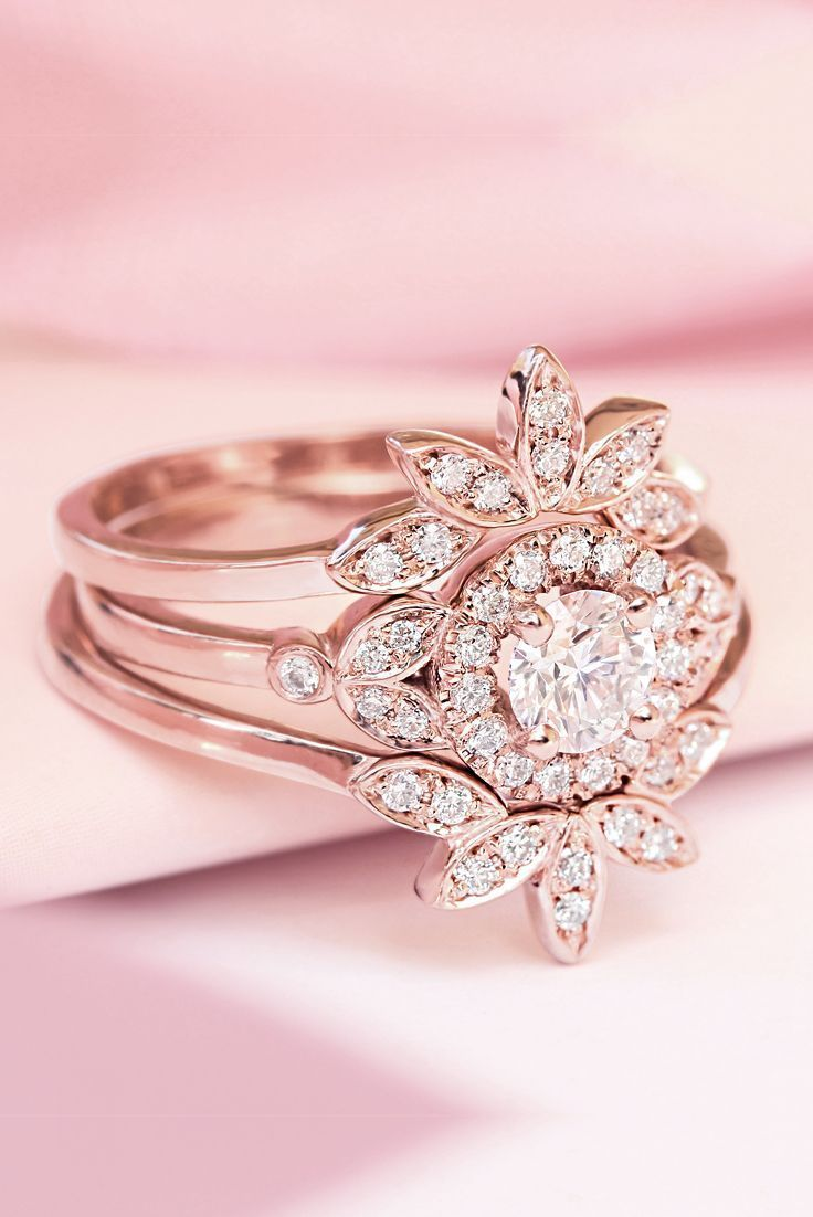 Unique engagement diamond floral and delicate wedding rings set rose ...
