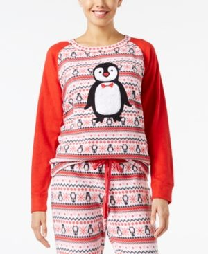 Jenni by Jennifer Moore Appliqued Fleece Pajama Top, Only at Macy's - Red XL