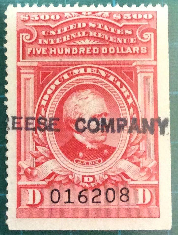 United States 1940 1950 500 J A DIX Documentary Internal Revenue Stamp