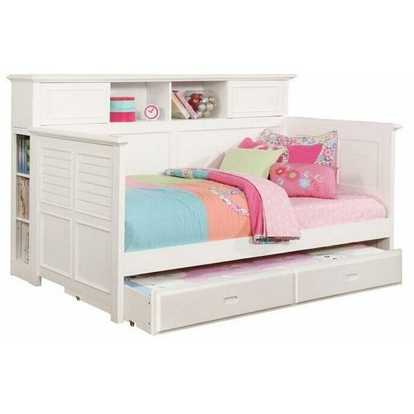 Bookcase Daybed Style White Finish Wood Twin Day Bed With Slide Out... (