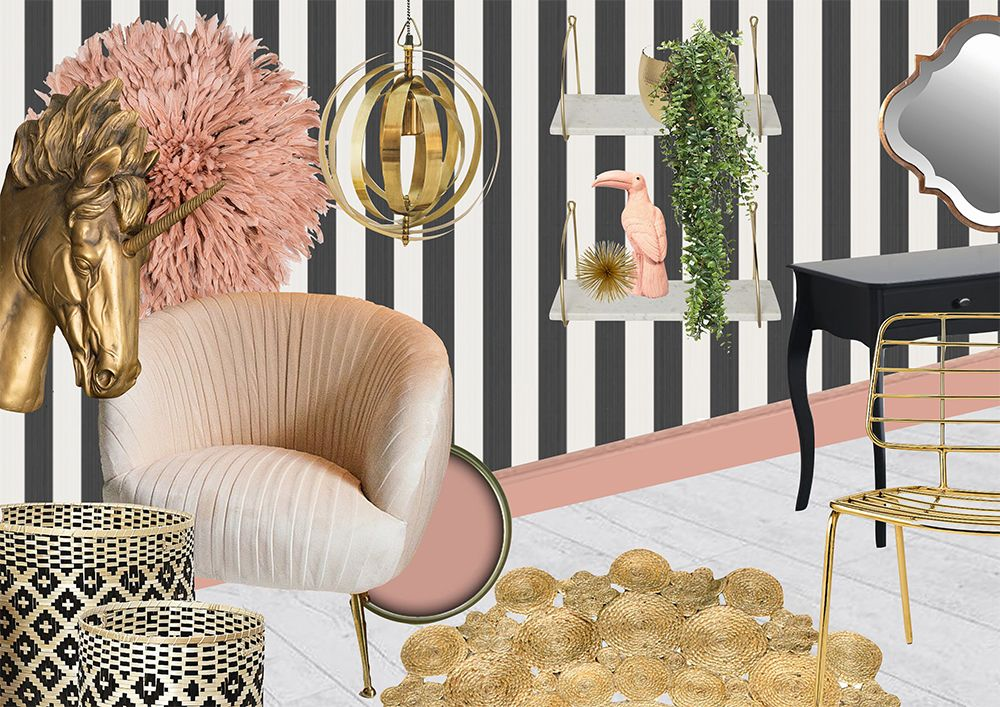 Sumptuous Interior Room Scheme  The Femme Fatale. Pink, Gold And Monochrome  Bedroom Inspiration