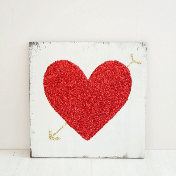 baeddb6b5488 Red Glitter Heart with Gold Glitter Arrow, Valentine's Day Home Decor, Valentine's  Day gift for her,