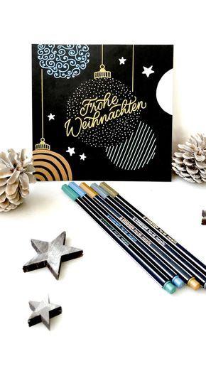 DIY: Weihnachtskarte mit Stabilo Pen 68 metallic-Stiften - Katja Haas | PapierLiebe
