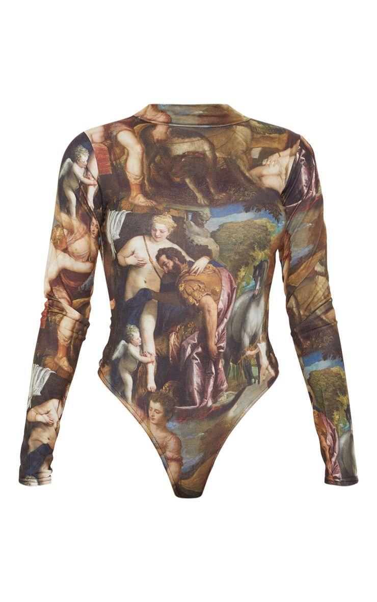 b9f9a39e37af Multi Renaissance Printed High Neck Long Sleeve Bodysuit in 2019 ...