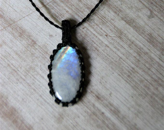 rainbow moonstone white and gold white macrame Moonstone pendant macrame pendant