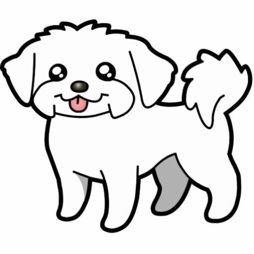 Cartoon Maltese Puppy Cut Photo Sculpture Magnet