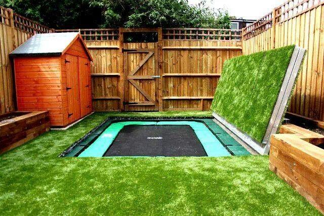 In Ground Trampoline Cover Sunken Trampoline Big Backyard Backyard