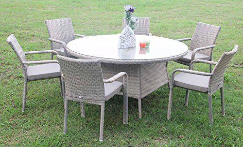 All Weather Rattan And Aluminium Tulip 6 Seat Round Dining Set