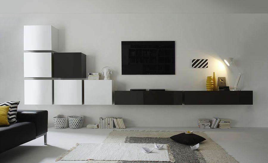 Ensemble TV mural design laqué blanc brillant et anthracite REIMS