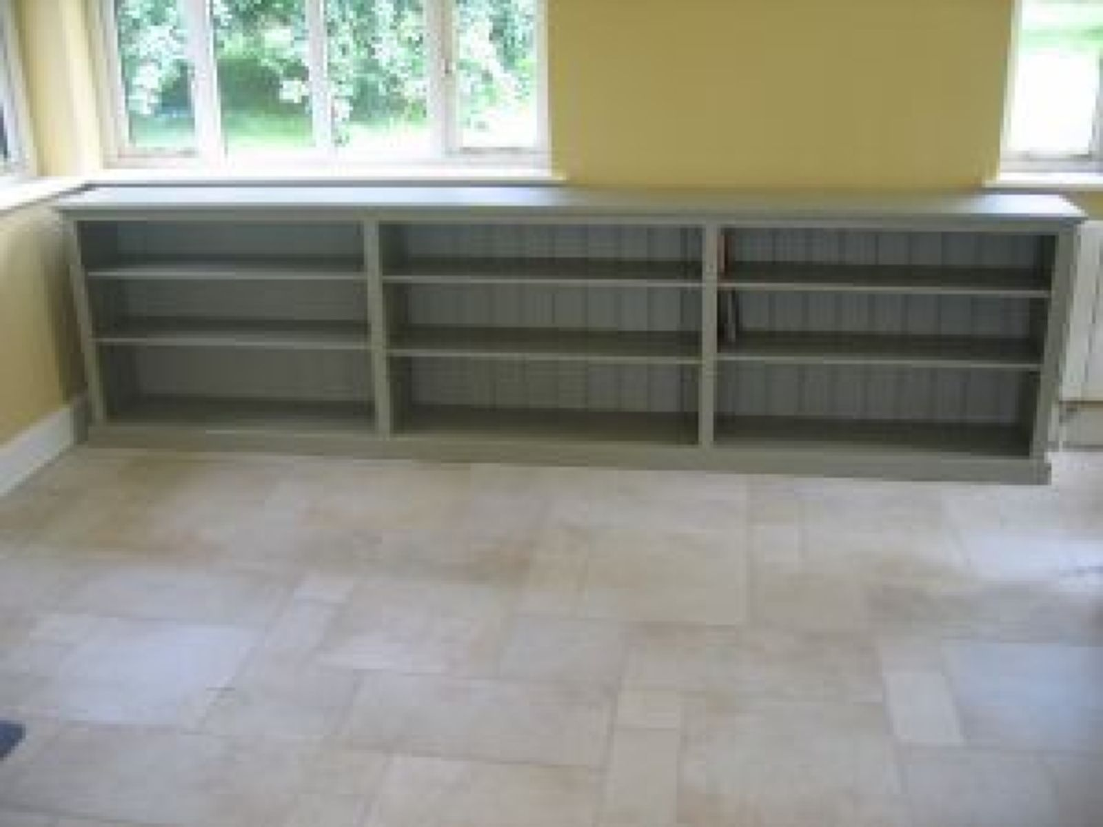 Bespoke painted triple low long bookcase bespoke office furniture pine shop bury
