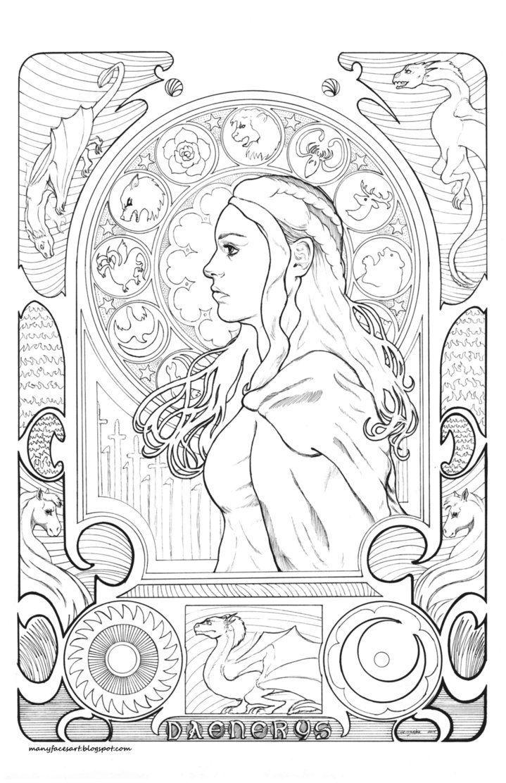 daenerys colouring - Google-søk  Mandala coloring books, Coloring