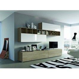 mobile parete soggiorno porta-tv tamburato con libreria a giorno ... - Mobile Soggiorno Bianco Lucido