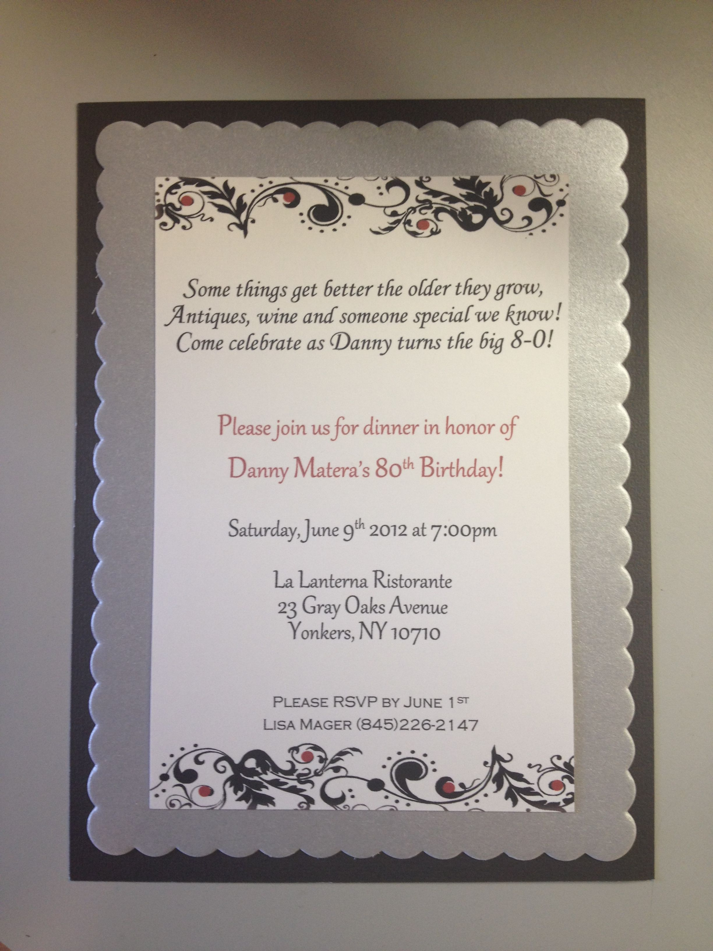 80th Birthday Invitations Really Like The Wording On This One