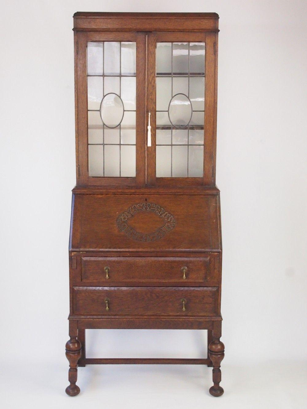 Wonderful Vintage Oak Bureau Bookcase / Writing Desk