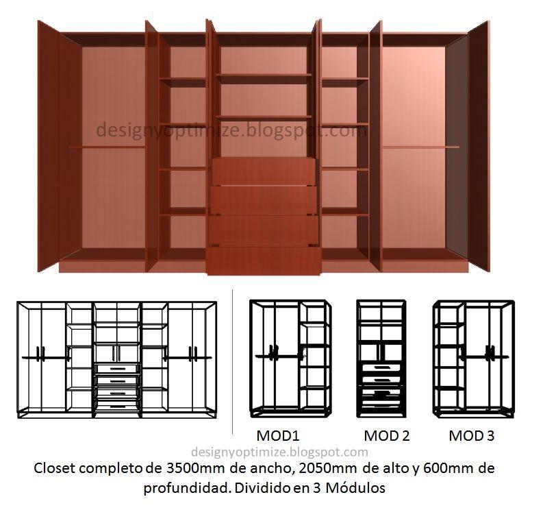 Dise os de muebles armarios cocinas bibliotecas etc for Muebles de cocina 3 metros