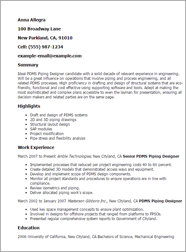 Myperfectresume Com Professional Pdms Piping Designer Templates To Showcase Your A34bea0e Resumesample Re Job Resume Samples Engineering Resume Sample Resume
