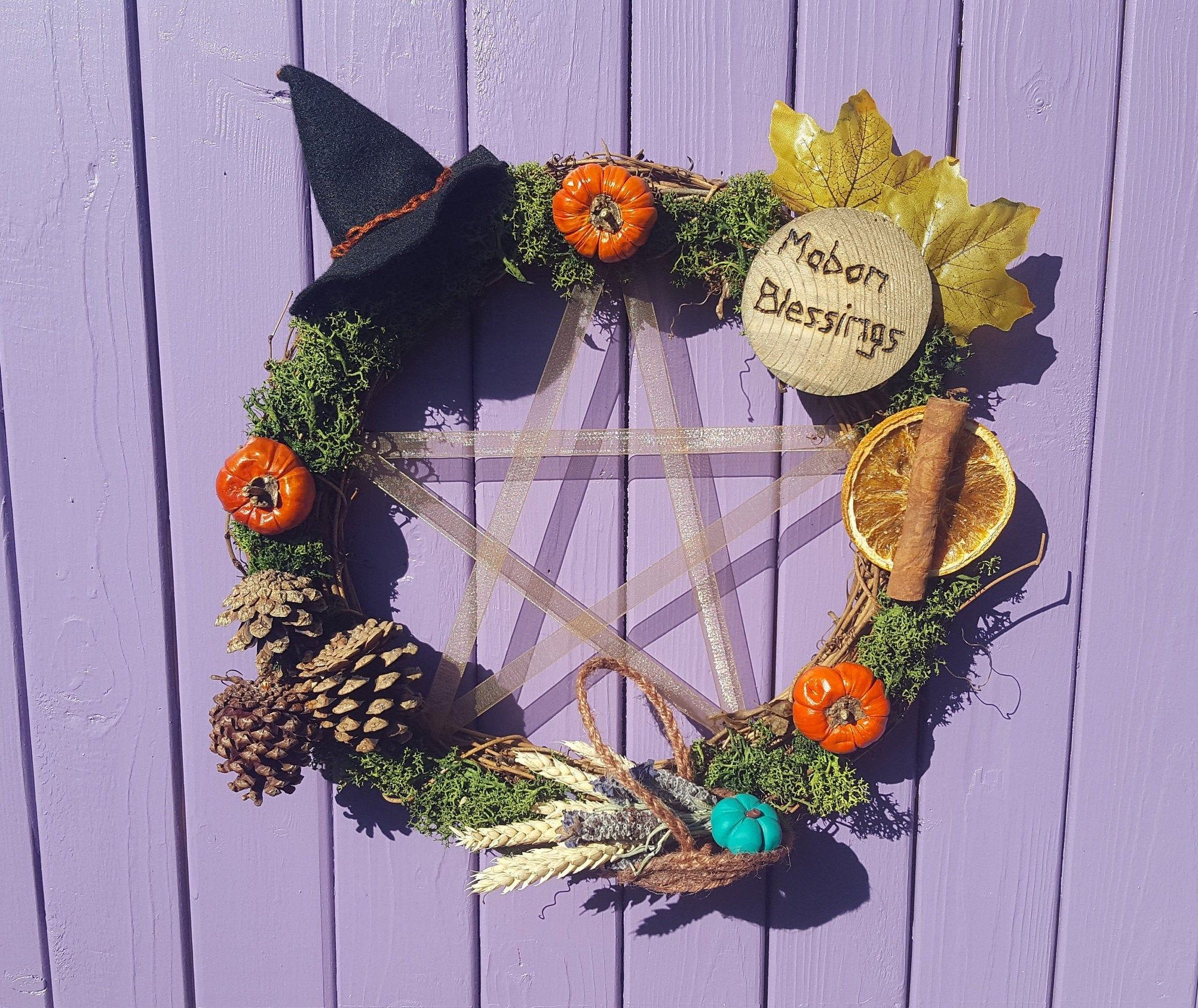 Mabon Autumn Wreath, Ribbon Pentagram, Autumnal Equinox, Wheat Decoration, Dried Lavender, Black Felt Witch Hat, Wiccan Wall Hanging