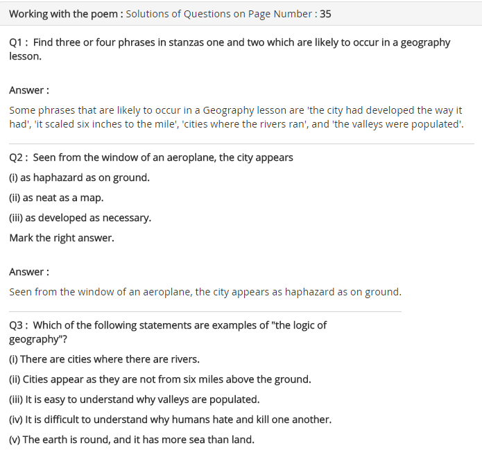 NCERT Solutions for Class 8 English Honeydew Geography lesson poem