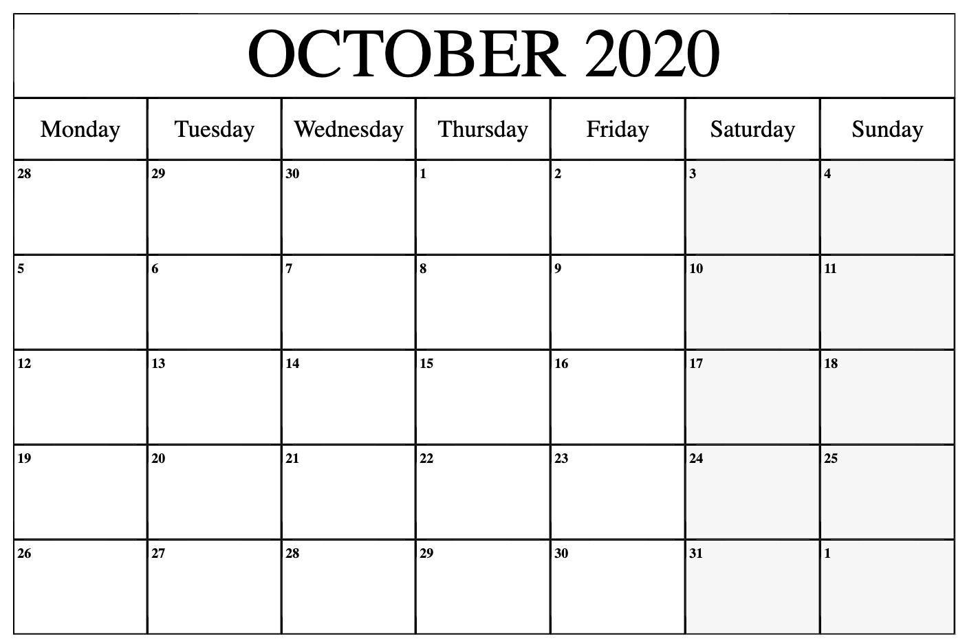 Print October 2020 Calendar Blank Template Pdf Word Excel In