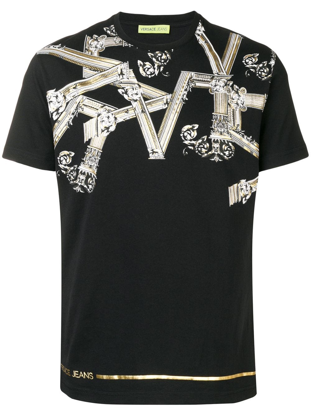 Versace Jeans Versace Jeans Pinted Round Neck T Shirt Black Versacejeans Cloth Versace Jeans Versace Jeans Shirt Versace