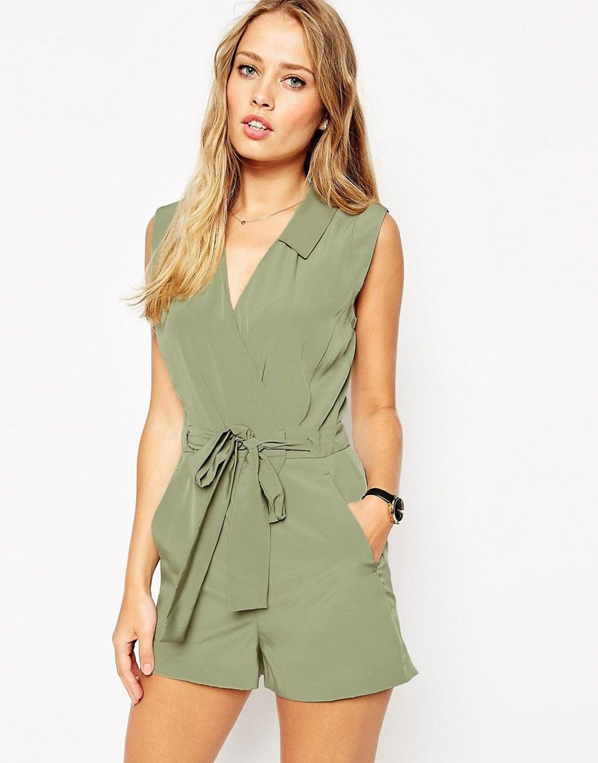 Playsuit by ASOS Collection Silky-feel, woven fabric Point collar  V-neckline Wrap front design Self-tie belt to waist Twin slant pockets  Regular fit - true ...