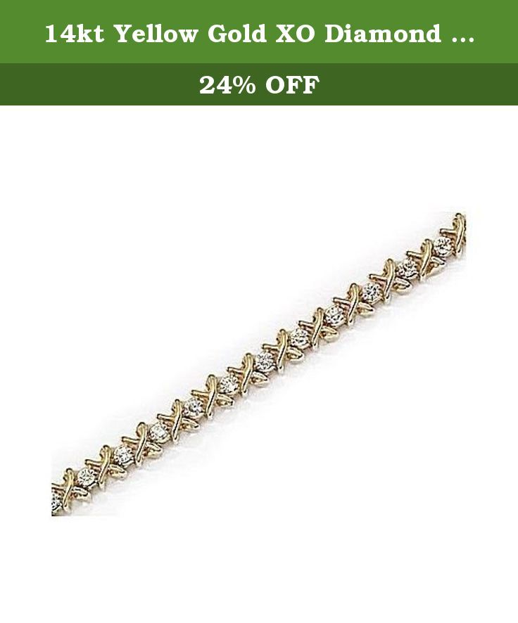 14kt Yellow Gold XO Diamond Bracelet 1.00ct TW. 14kt Yellow Gold XO Diamond Bracelet 1.00ct TW. Round Diamonds 1.00ct. H-I color, SI1-SI2 clarity.Free Gift Box. Carat wgt and measurements are approximate.