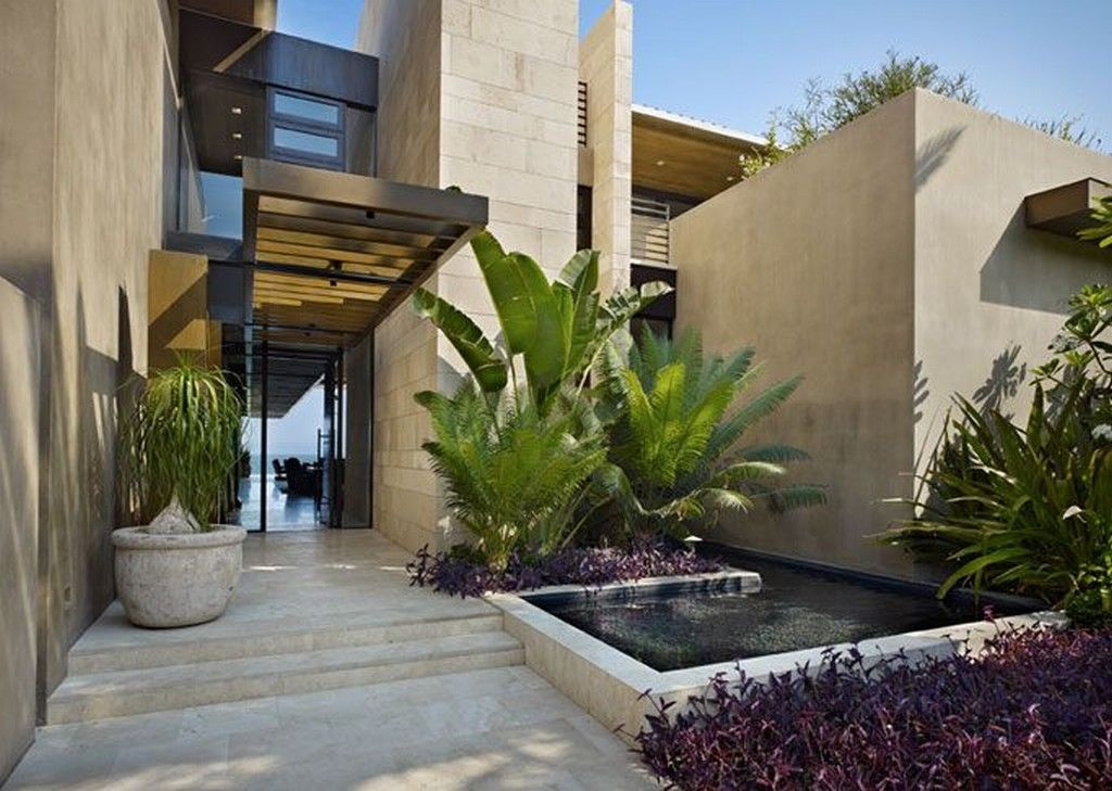 House Exterior Home Entrance Design Ideas With Stunning Small Pool