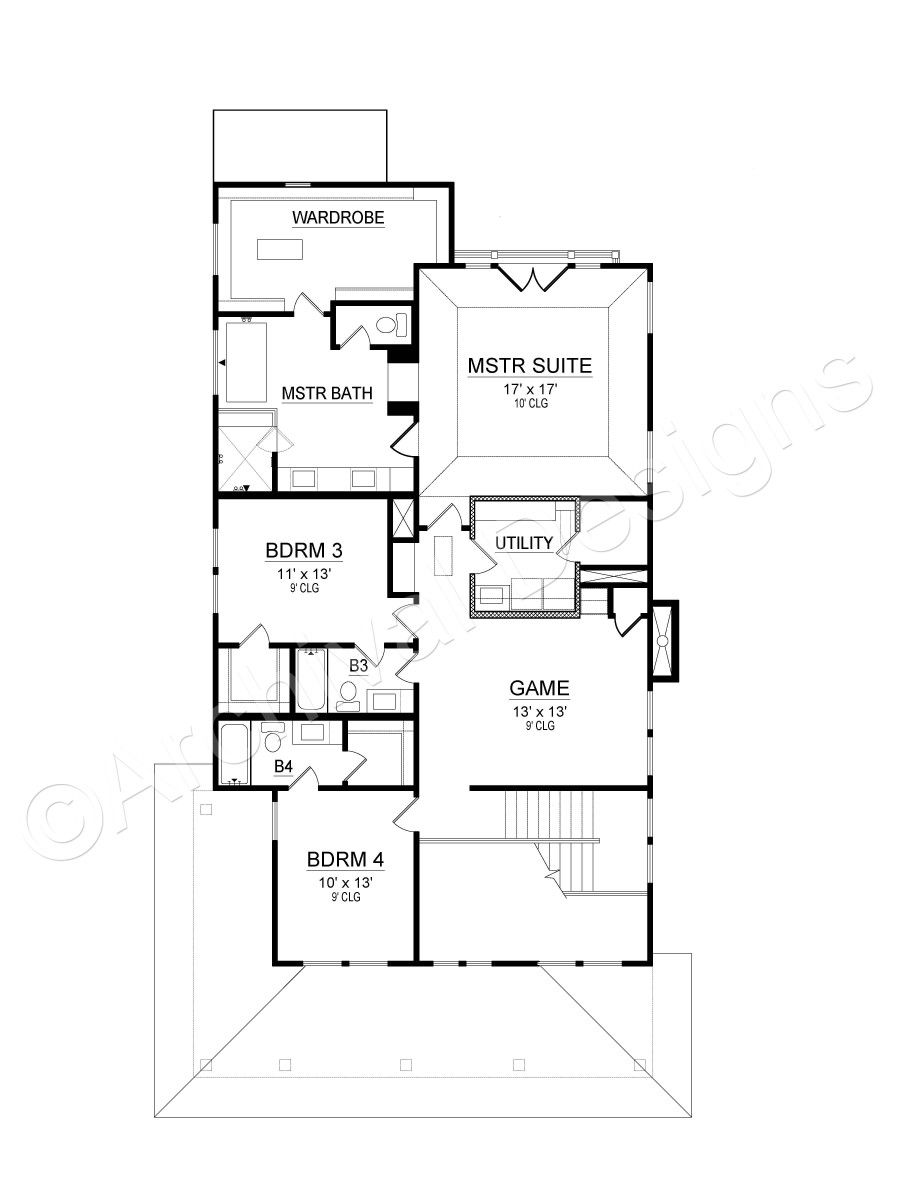 Greenville House Plan House Plans Narrow House Plans Small Room Bedroom