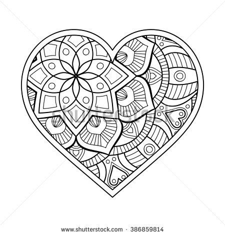 Heart With Floral Mandala Vintage Decorative Elements Oriental Pattern Vector Illustration Islam Heart Coloring Pages Mandala Coloring Pages Coloring Pages