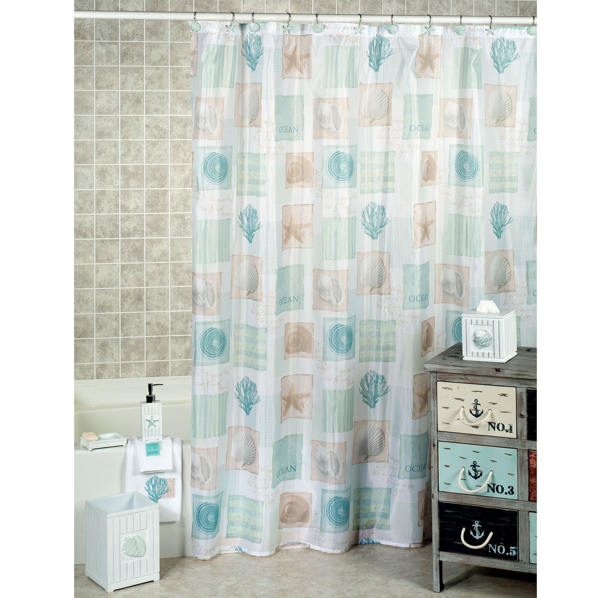 Nautical bathroom curtains - Whether You Live In A Beach House Or A City Apartment You Can Create A Carefree Bath Environment With The Seaside Seashell Coastal Shower Curtain