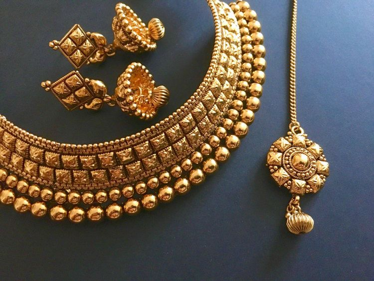 93fb34c86 Antique gold design Bridal Indian choker set in by MayilCreations ...