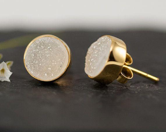 White Druzy Stud Earrings  Druzy Earrings  White Drusy por delezhen, $65.00