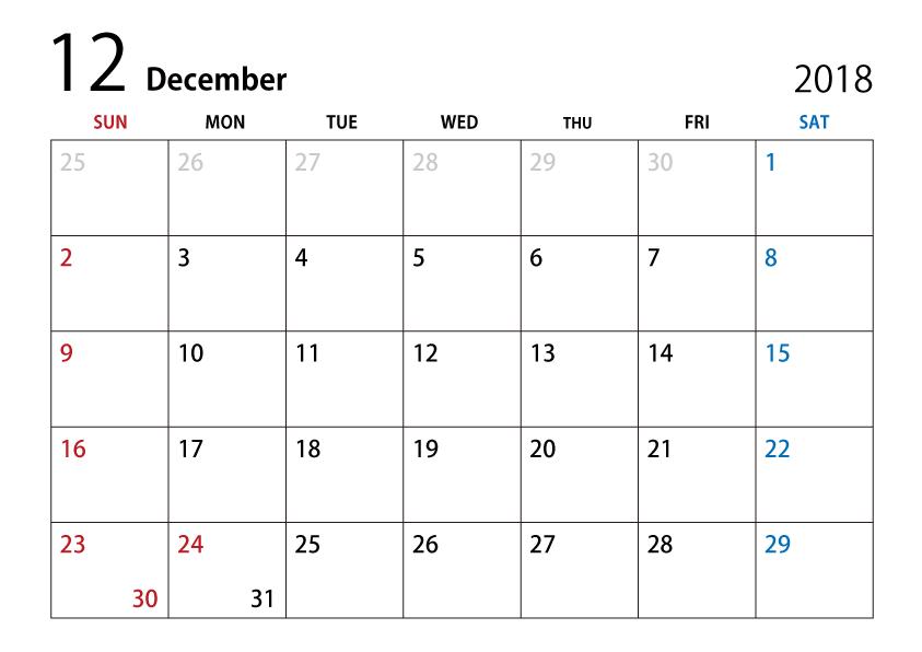 Calendar Template December 2019 Ms Word December 2018 Calendar Clipart   December 2018 Calendar Template