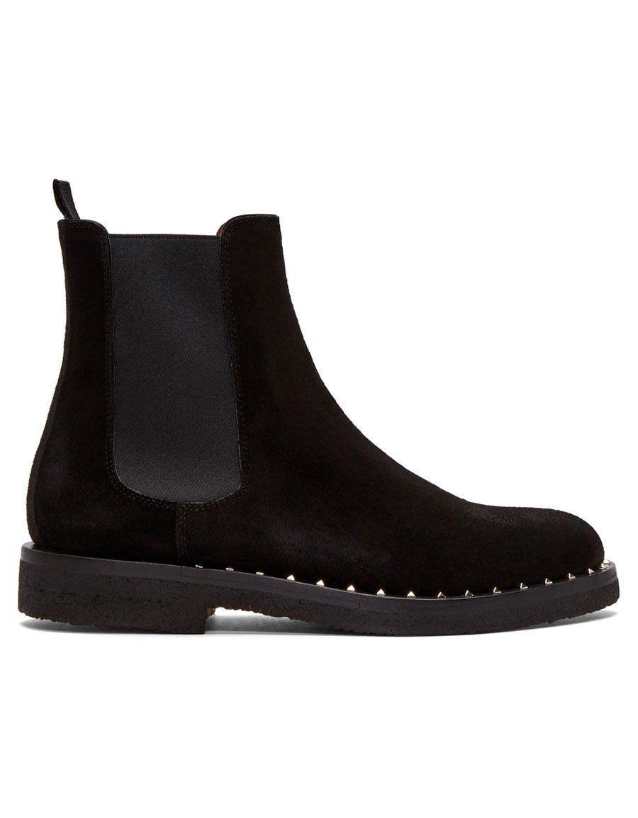 Valentino Black Garavani Suede Soul Rockstud Chelsea Boots Vente Chaude Pas Cher Acheter Le Meilleur Endroit Pas Cher Commerce À Vendre Recommander Pas Cher En Ligne N9aT65QUs8