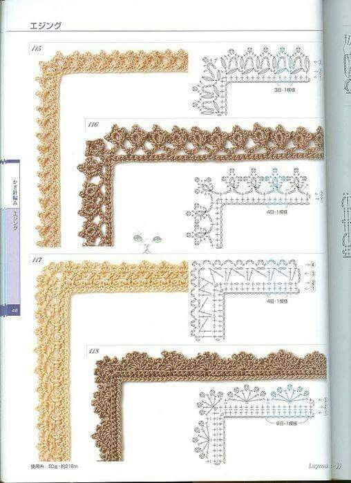 Bordes | crochet | Pinterest | Ganchillo, Bordes de ganchillo y Tejido