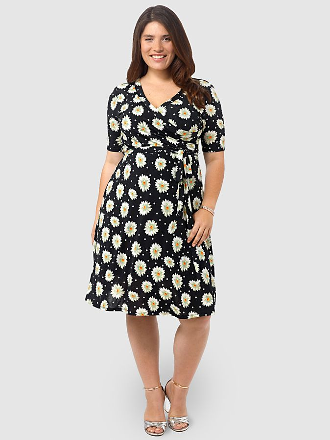 Fit Flare Dress In Daisy By Lucie Lu Available In Sizes 1x