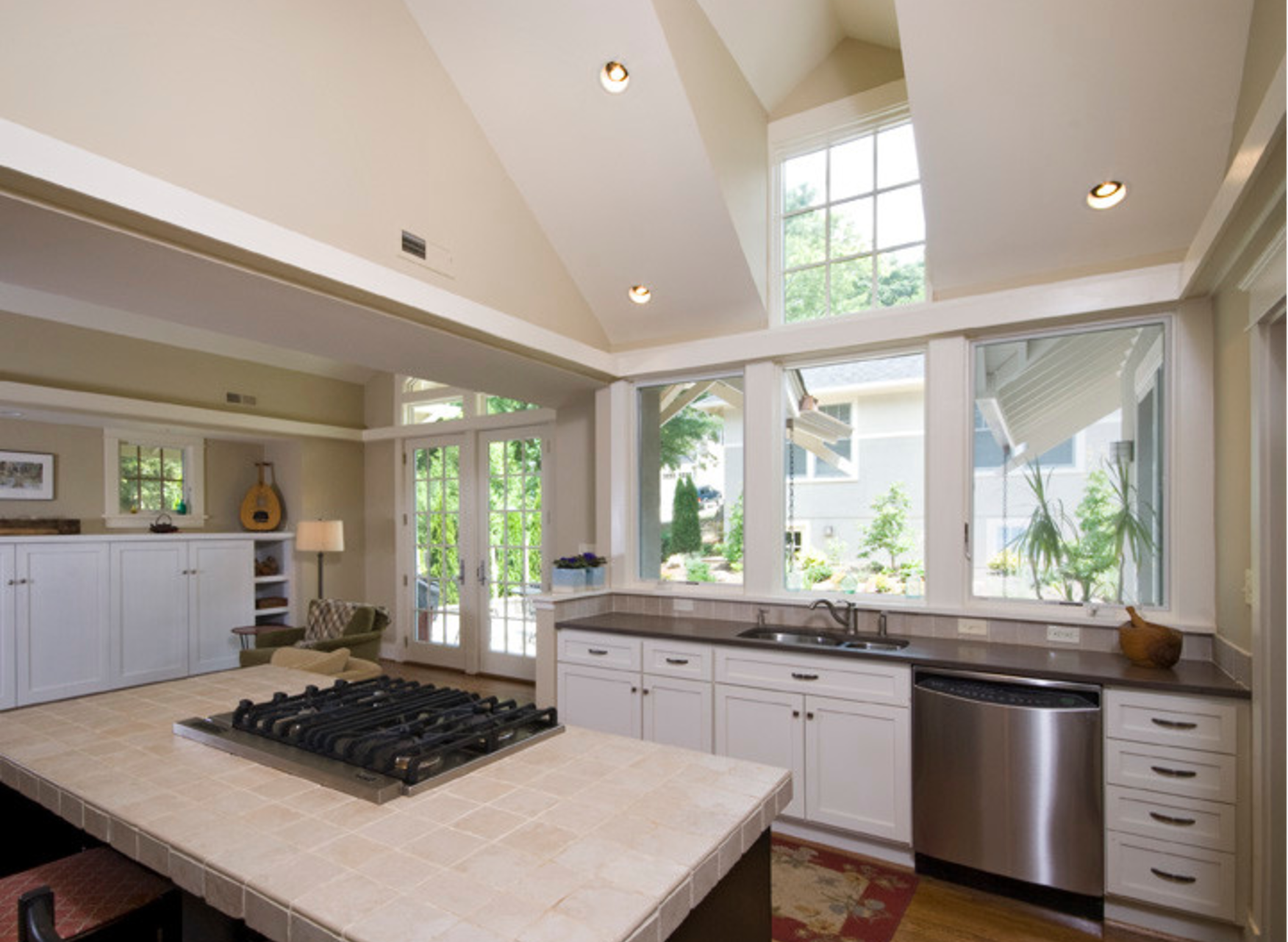Large Windows No Upper Cabinets In Kitchen Cottage Interiors Upper Cabinets Large Windows