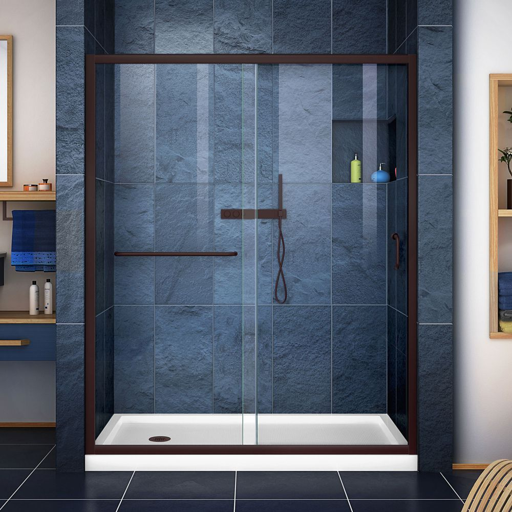 Infinity Z 30 Inch D X 60 Inch W Clear Shower Door In Oil Rubbed
