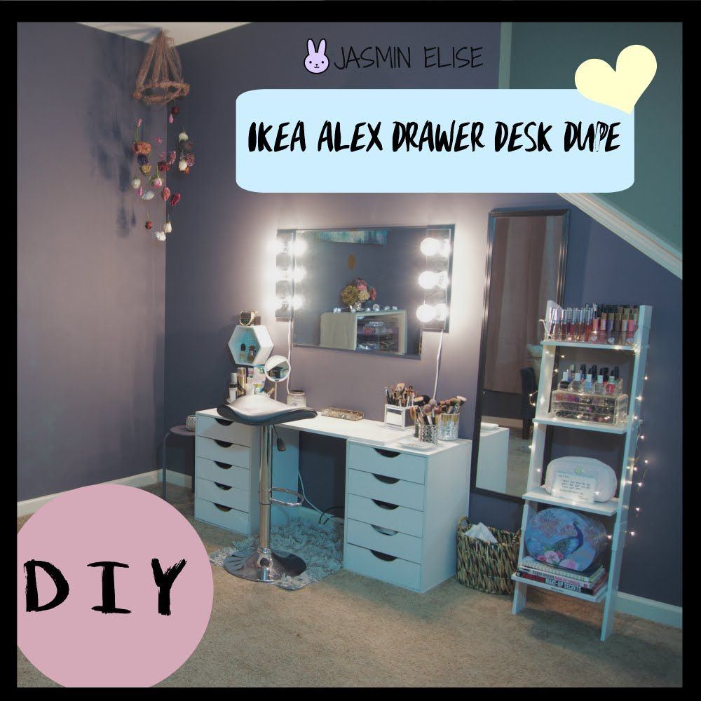How to ikea alex drawer desk dupe diy youtube vanities pinterest