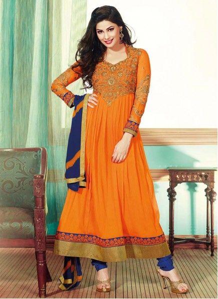 Orange Zari And Embroidered Chiffon Kalidar Suit