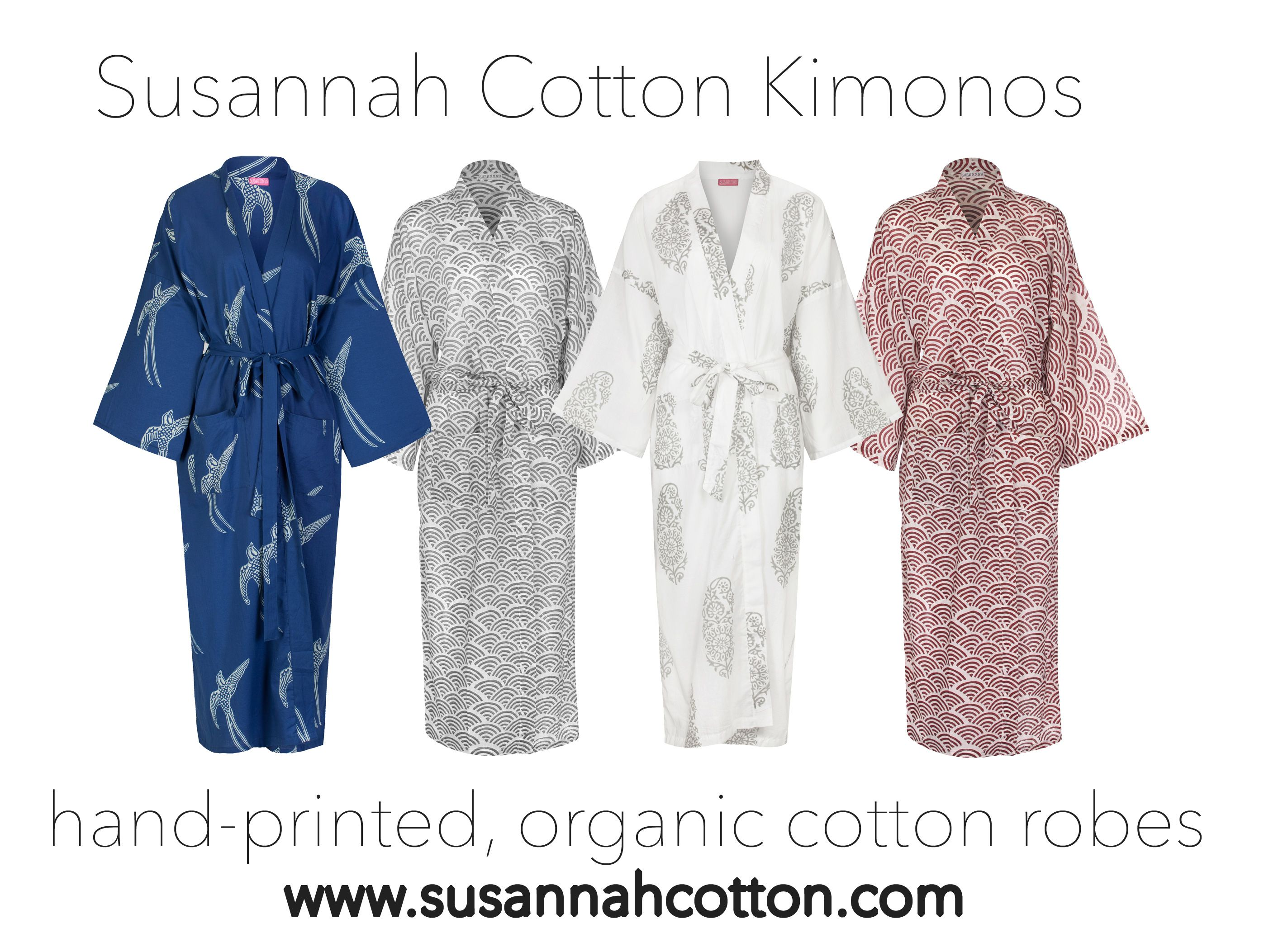 Susannah Cotton Hand Printed Kimono Robes Made From Light Organic