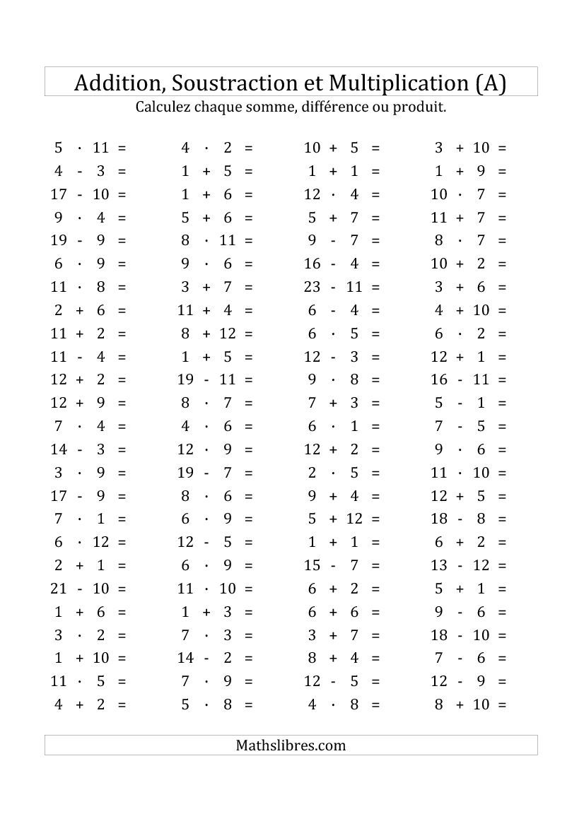 100 questions sur l 39 addition soustraction multplication for Table de multiplication exercice