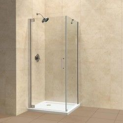 Dreamline Elegance 30 X 30 X 72 Frameless Shower Enclosure With Support Arm 3 8 Tempered Clear Glass Corner Shower Enclosures Shower Enclosure Shower Stall
