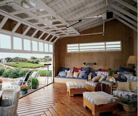 Open Ceiling Adu Patio Remodel Glass Garage Door House