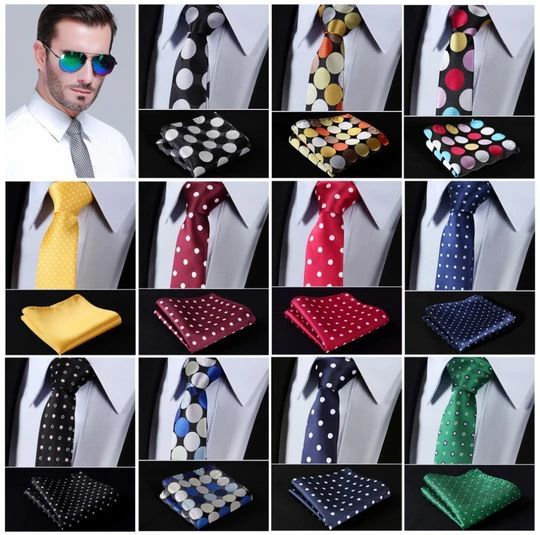 Dot 2.17 Slim Narrow Tie Necktie Men Pocket Square handkerchief set Suit #E4 #pocketsquares